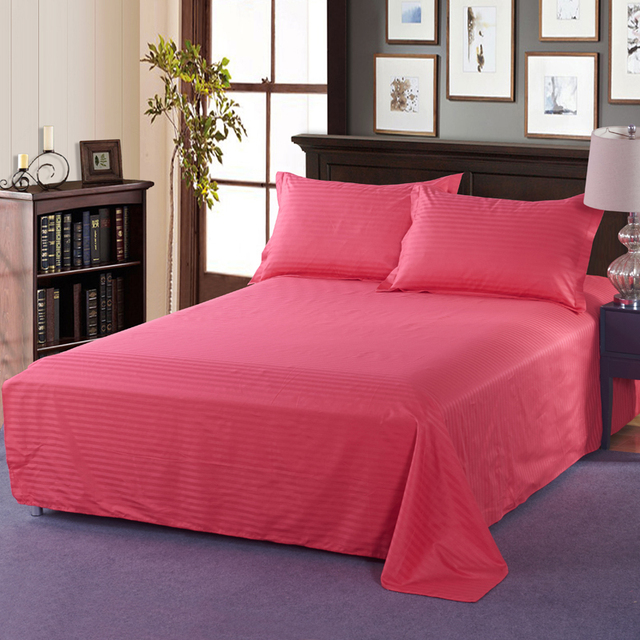 Hot Modern Style Bedding Hotel Home Textiles Rose Red Solid Color Satin 3 Pcs Bed Sheet