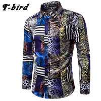 T Bird 2017 Spring Autumn Features Shirts Men Casual Dress Shirt New Arrival Long Sleeve Casual