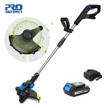 hot deal buy prostormer 20v electric grass trimmer lithium-ion 2000mah cordless lawn mower grass string trimmer pruning cutter garden tools