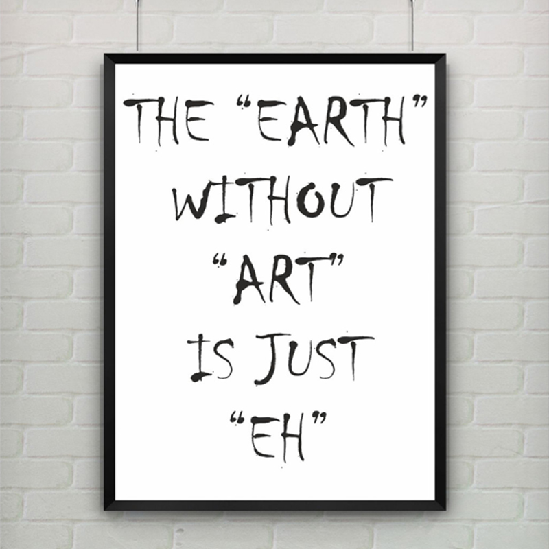 Abstract Earth Epigram Canvas Painting Black White Wall