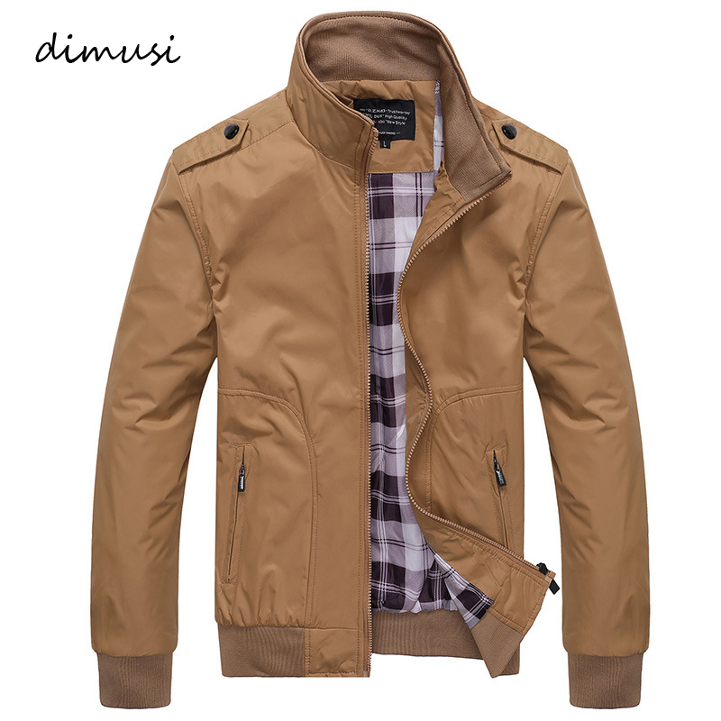 DIMUSI Spring Autumn Casual Coats Solid Color Mens Sportswear Stand Collar Slim Male