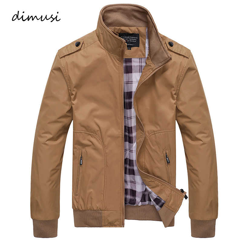 DIMUSI Mens Jackets Spring Autumn Casual Coats Solid Color Mens Sportswear Stand Collar Slim Jackets Male Bomber Jackets 4XL