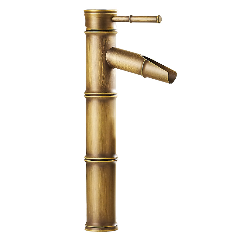все цены на European antique bathroom sink basin faucet retro, Bamboo style single hole basin faucet vintage, Brass water tap hot and cold