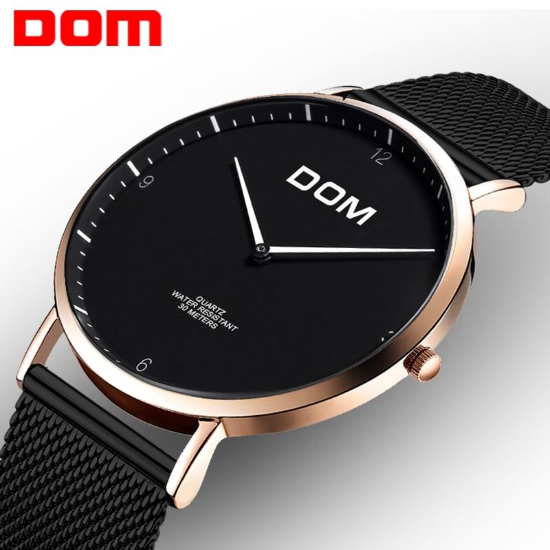 DOM vrouwen luxe merk waterdichte stijl quartz horloge Tungsten staal - Herenhorloges