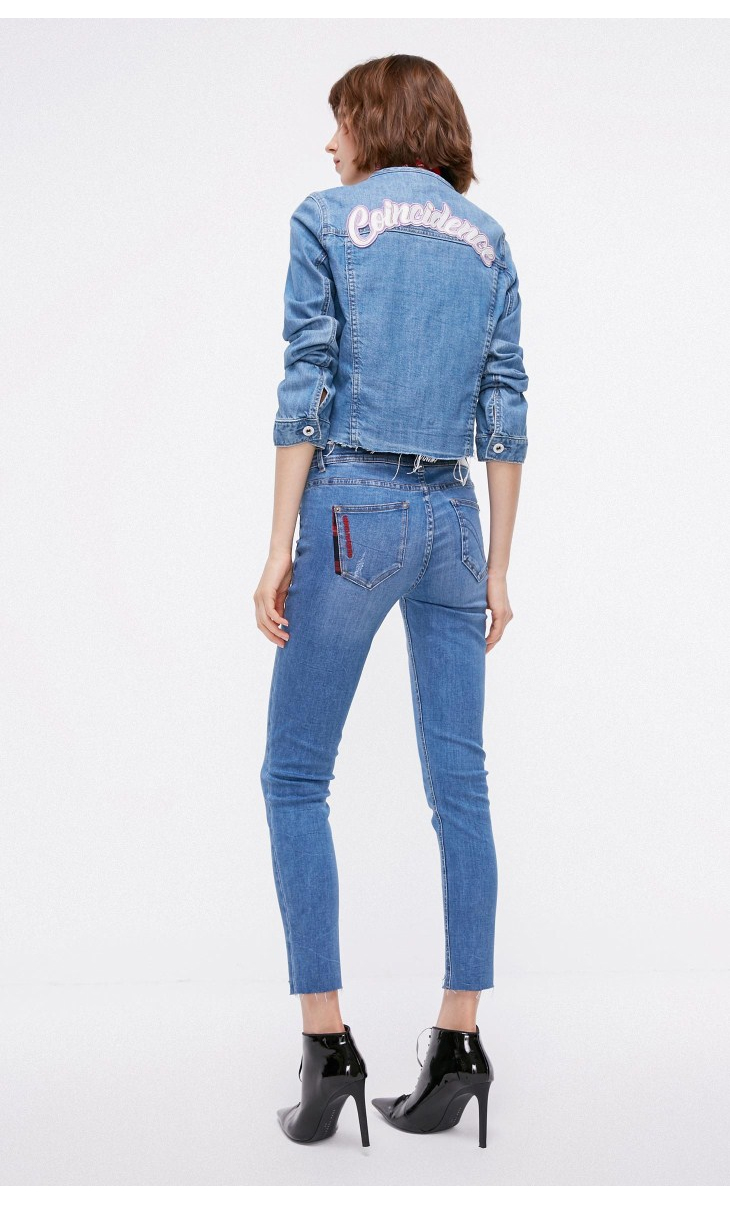 ONLY Women's autumn new low waist slim cropped jeans| 118349591 14