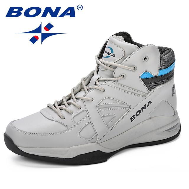BONA Baskets Homme 2018 Men Basketball Shoes Cow Split Men Shoes Outdoor Flat High Top Sport Shoes Men Trainers Zapatillas Comfy