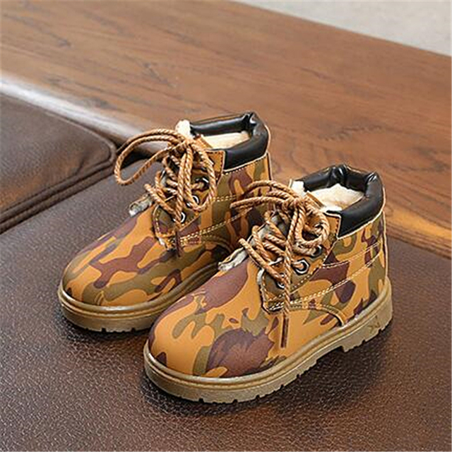 Children Martin boots PU Leather Lace-Up Boys Girls Camouflage shoes Kids  Ankle Snow Boots Warm Plush Winter shoes 02B ae1c419b2e59