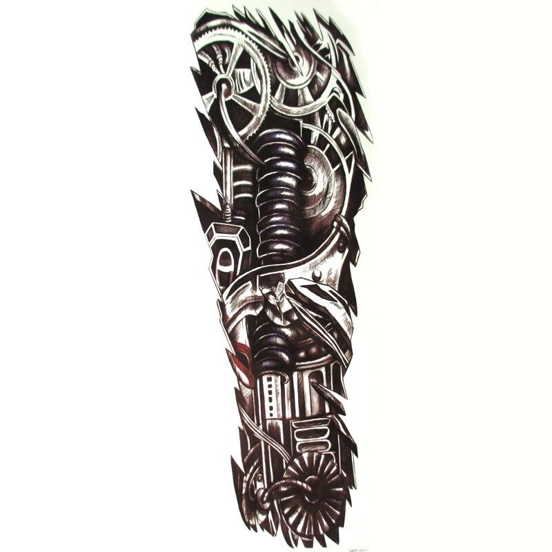 10pcs 대형 로봇 방수 임시 문신 남자 기계식 가짜 문신 스티커 아트 헤너 타투 문신 스티커