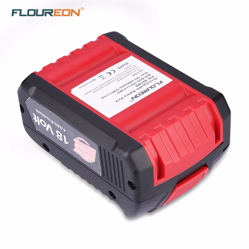 Original FLOUREON <font><b>18V</b></font> 4000mAh Rechargeable <font><b>Battery</b></font> Pack Replacement Power Tool <font><b>Battery</b></font> BAT609 Li-Ion <font><b>Battery</b></font> for <font><b>Bosch</b></font> 2 607 336 image