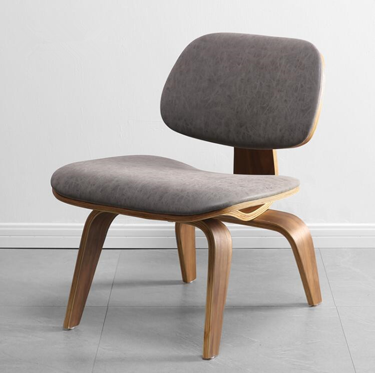 Mid-Century  Molded Plywood Lounge Chair with Faux Leather Seat &Back Cushion Walnut Plywood Chair for Living Room Dining Room mid century wooden desk