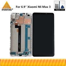"""원래 axisinternational 6.9 """"xiao mi max 3 mi max 3 lcd 화면 디스플레이 + mi max3 mi max3 용 프레임이있는 터치 패널 디지타이저"""