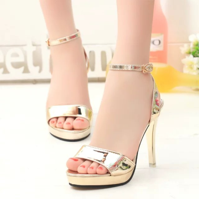 Fashion Female Sandals Summer Fish Mouth Women's High Heel Shoes High Heels Party Women Sandals Gold Pink Silver Size 35-39 summer new models of fish mouth women sandals large size 40 43 yards shoes waterproof platform high heels female sandals obuv