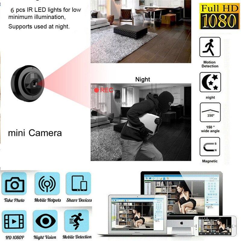 Mini caméra sans fil Wifi IP sécurité maison/voiture HD 1080 P DVR Vision nocturne batterie Surveillance caméra IP caméra App contrôle