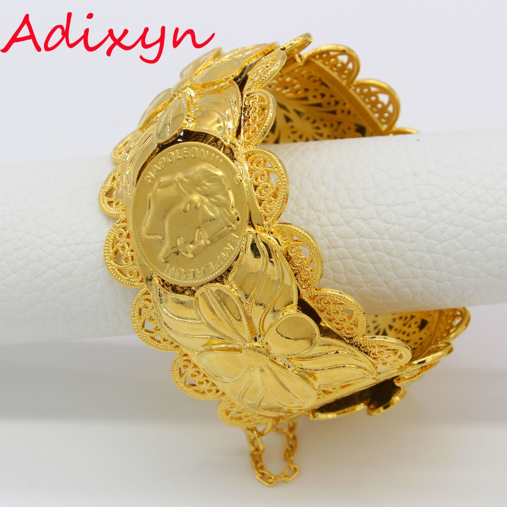 Adixyn Dubai Gold Bangles Fashion Jewelry For Women Men Gold Color Bangles/Bracelets African/India//Middle East Items Free Box adixyn dubai gold bangles fashion jewelry for women men gold color bangles bracelets african india middle east items free box