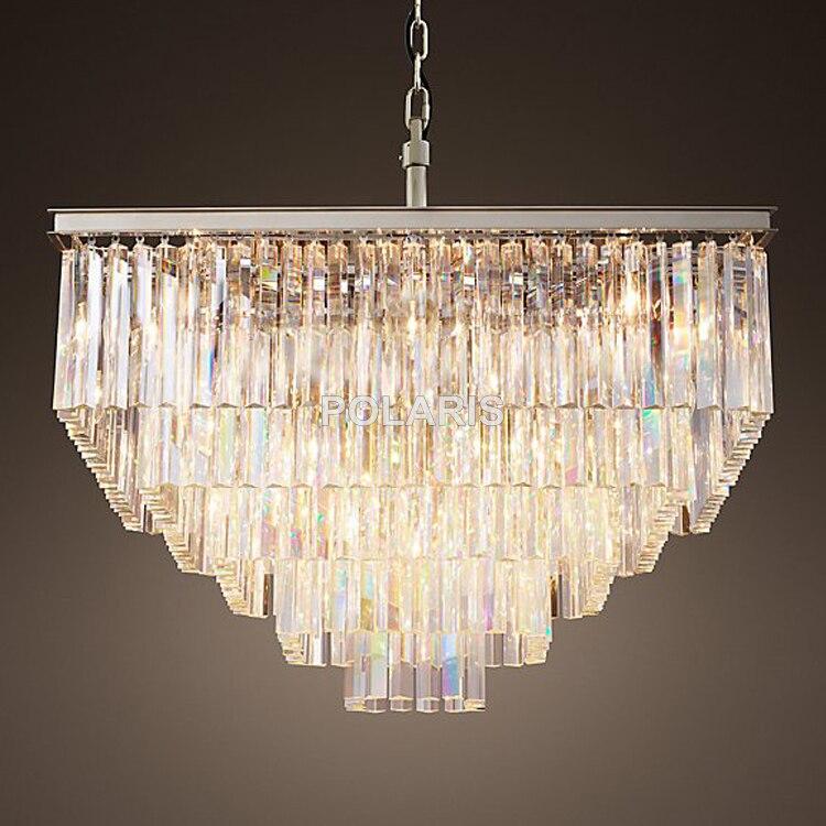 Livraison Gratuite De Luxe Pays Carré Vintage Lustre En Cristal Lumière Pendante de Plafond Lustres Lampe pour La Décoration Intérieure