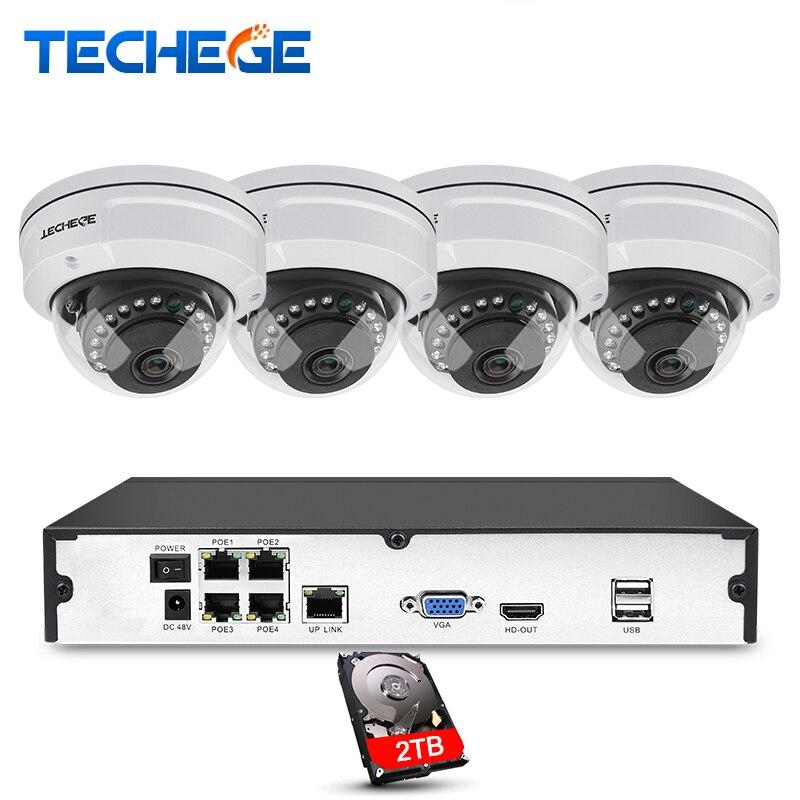 Techege 4CH NVR 48 v POE 1080 p CCTV Système Onvif P2P 2.0MP HD Réseau de Détection De Mouvement de Sécurité Anti-Vandalisme POE IP Caméra XMeye
