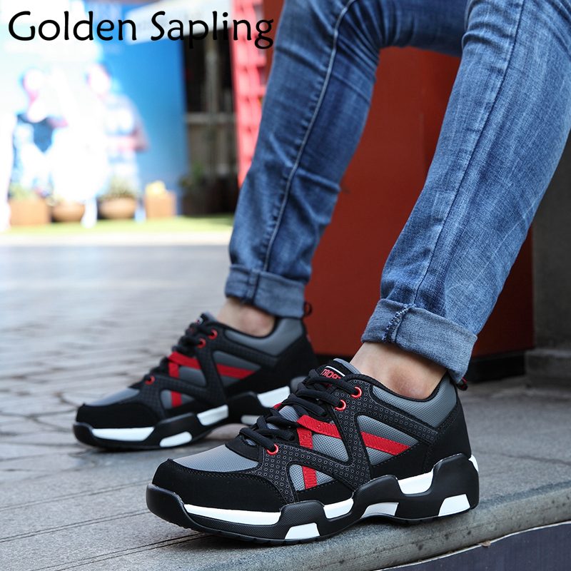 Golden Sapling Mens Sneakers Running Shoes for Men Breathable Leather Waterproof Top Rubber Male Sport Shoes Trail Man Sneakers