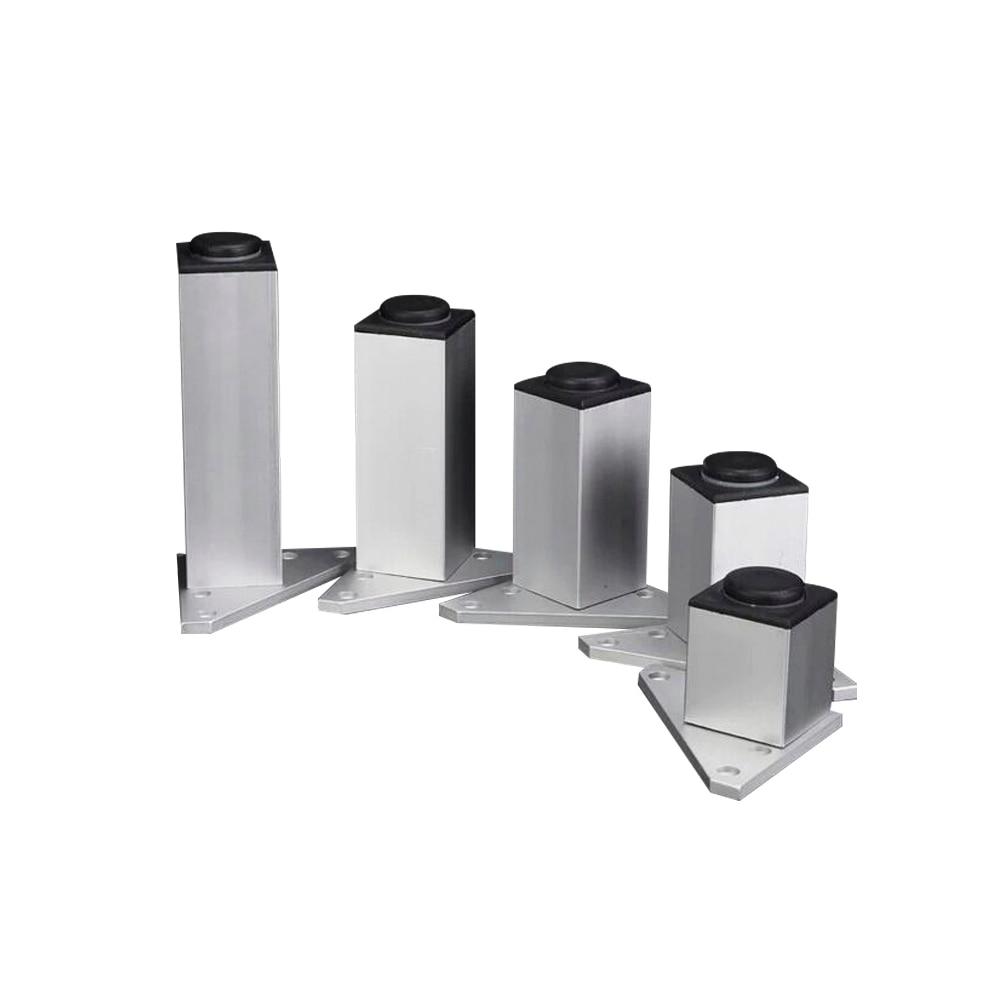 Adjustable Square Furniture Legs Aluminum Alloy Silver Legs Cabinet Sofa Feet