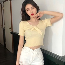 Vintage Wood Ears V Neck Short Sleeve T-shirt 2019 New Woman Fashion Bow Slim Fit T Shirt Summer Solid Korean Casual Tops