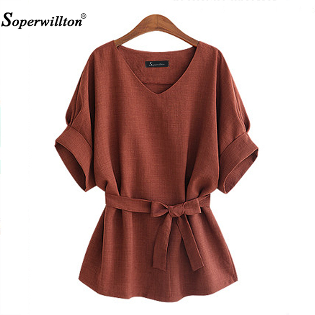 50ba2413a1f18 2018 New Kimono Summer Women Blouse Big Large Plus Size 5XL Brown Loose  Shirts Women Tops V Neck Blouses Vintage Linen Big Bow