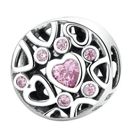 Charms Bracelet Sterling silver 925 original Hollow Out heart&Pink Rhinestone covered Round Charms For Jewelry Making Women 2.2G