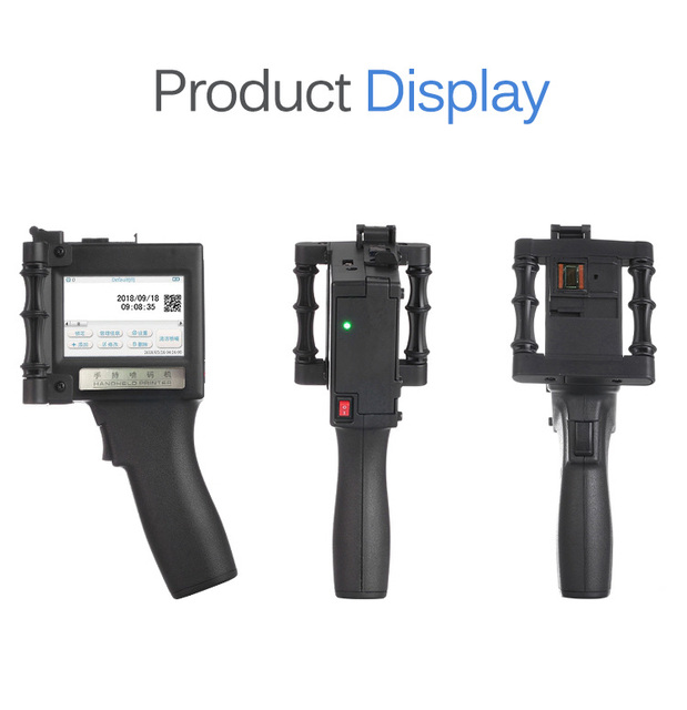 שחור כף יד הזרקת דיו מדפסת 2-12.7mm הדפסת גובה 600 DPI זמן ברקוד לוגו עם מחסנית