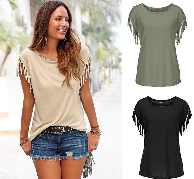 ea93ae9d05e 3XL Black Purple White Khaki Green Blue Red Orange Plus Size Women Tops  Tassel Short Sleeve T-shirt Summer Top Tee Shirt Femme