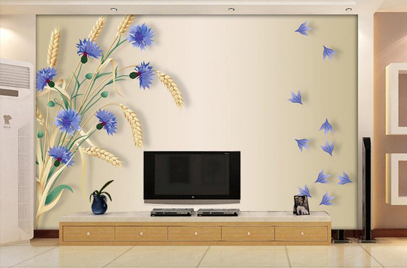 Aliexpress.com : Buy 3D Wallpaper Custom Mural Beauty Non Woven Wallpaper  Purple Flower Hand Painted Wheat Background Wall Murals From Reliable  Wallpaper ...