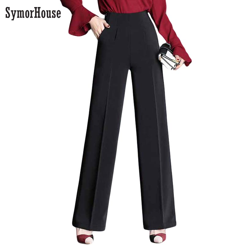 SymorHouse Autumn Women Suits Pants Black High Waist Pants Female Loose Long Wide Leg Trousers <font><b>pantalones</b></font> <font><b>mujer</b></font> Size <font><b>4XL</b></font> image