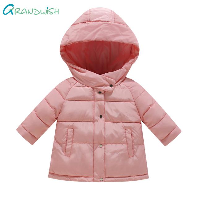 Grandwish casacos com capuz inverno da menina da criança das crianças sólida à prova de vento outerwear crianças parkas casaco quente para a menina 24 m-8 t, SC907