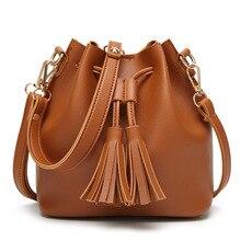 Torebki damskie moda PU torebki damskie skórzane torebki damskie torebki Tassel wysokiej jakości torebki damskie ze sznurkiem małe wiaderko