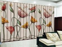 Custom 3D Curtain Colorful Flowers, Delicate and Butterflies Flying Beautiful Blackout Curtains