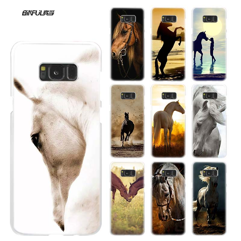 Horse Animal Case for Samsung Galaxy S8 S9 Plus S4 S5 Mini S6 S7 Edge Clear Hard Plastic PC Coque Cover Phone Shell Fundas Capa image