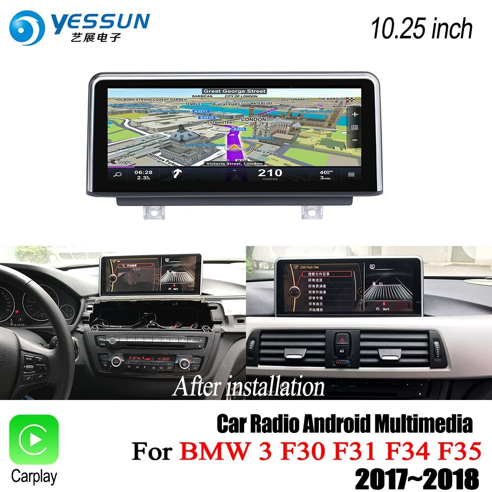 YESSUN Pour BMW 3 F30 F31 F34 F35 2017 ~ 2018 EVO 10.25 pouces Voiture Android Carplay Stéréo Lecteur GPS Navigation HD Écran Aucun DVD