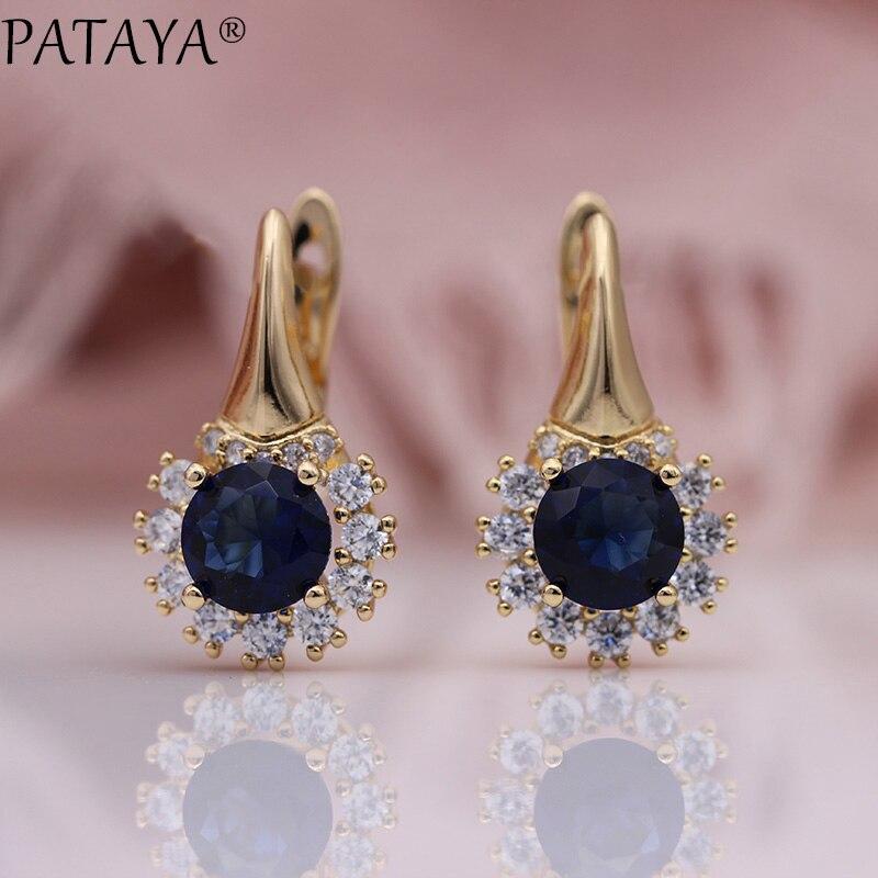 PATAYA New Round Dark Blue Wedding Dangle Earrings Women Cute Flower Party Fashion Jewelry 585 Rose Gold Natural Zircon Earrings