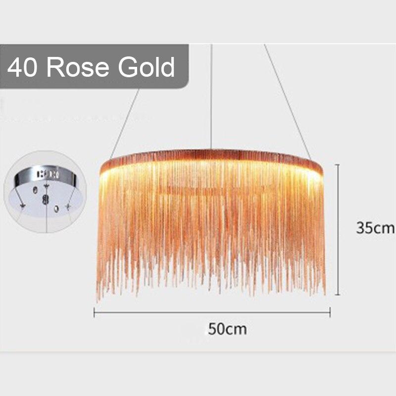 IKVVT роскошные подвесные светильники золотистого и серебряного цвета, круглые лампы с кисточками, Алюминиевый металлический корпус для гостиной, отеля, современные домашние лампы - Цвет корпуса: Dia40cm Rose Gold