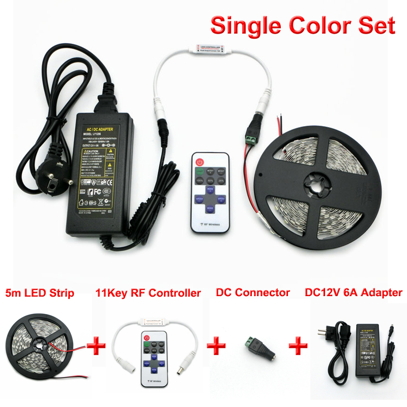 L11 DC12V 5050 RGB LED Strips Set, 5m 300 LEDs Flexible Light + RF  Controller +DC12V 6A Adapter. In LED Strips From Lights U0026 Lighting On  Aliexpress.com ...