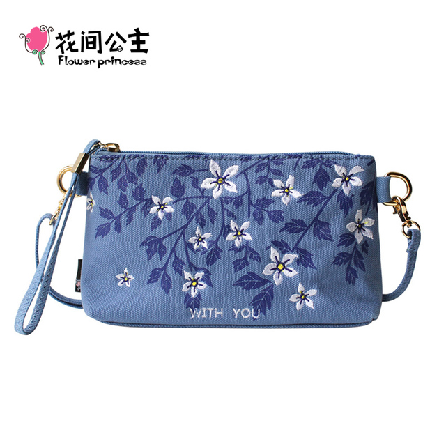 Flower Princess Brand Designer Women's Canvas Embroidery Floral Small Shoulder Bags Ladies School Girl Blue Crossbody Bag   X007