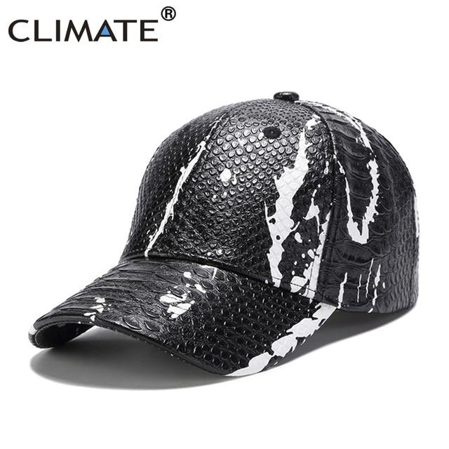 a163bc7c189dc CLIMATE Men Baseball Cap Hat Men Black Snake Skin Cap Man-made Leather Baseball  Cap Solid Blank Hip Hop Men Dancer Caps Hats