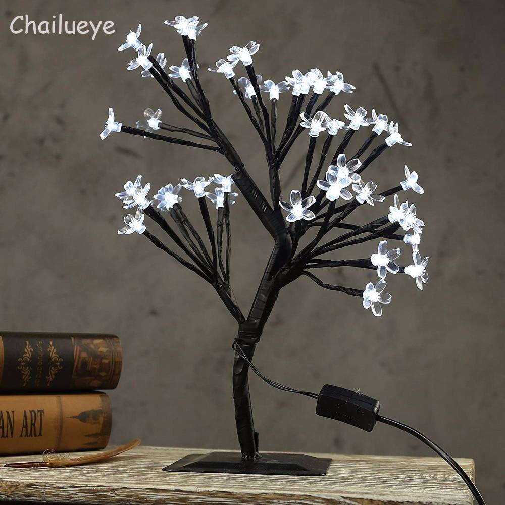 Fairy LED Cherry Blossom Tree Night Lights Luminarias Table