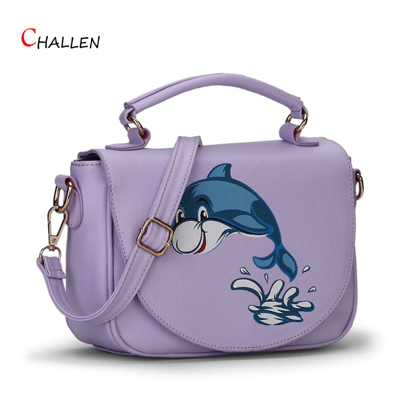 2016 Fashion Fish Animal Prints Bag Women Handbag Famous Brand Black Pink Crossbody Shoulder Messenger Bags Pu Hobos Clutch y693