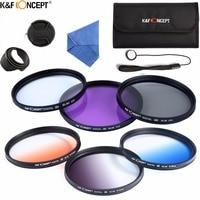 K & F CONCEPT 62mm Camera Filter Kit UV CPL FLD + Afgestudeerd Grijs Blauw Oranje Kleur Filter + Lens Pouch + Kap/Cap + Reinigingsdoekje