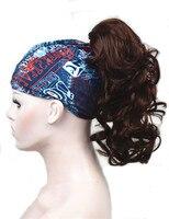Starke Schönheit Synthetischen Medium Lange Haarverlängerung Haarteil Klaue Clip in/auf Haarteil Curly 12 zoll Pferdeschwanz 43 farben