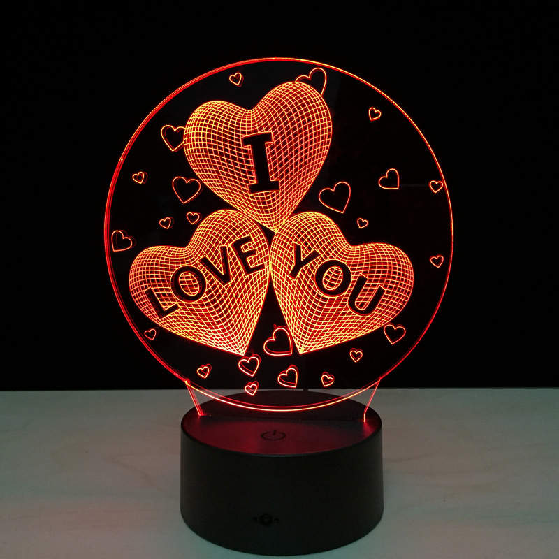 I LOVE YOU Colorful 3D Hologram Lamp USB Acrylic Lights 3D LED Lamp Nightlight For Christmas Wedding Party Lover Gift Drop Ship