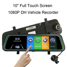 10 inch Full HD 1080P Touch Screen Car DVR Rearview Mirror Dash Cam Camera G-Sensor Vehicle Video Recorder Portable phisung f900 10in 1080p hd car rearview mirror dvr camera g sensor dash cam