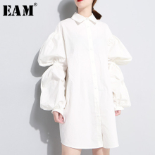 EAM 2019 Spring Summer Wild Women's White Loose Lantern Sleeve Turn-down Collar
