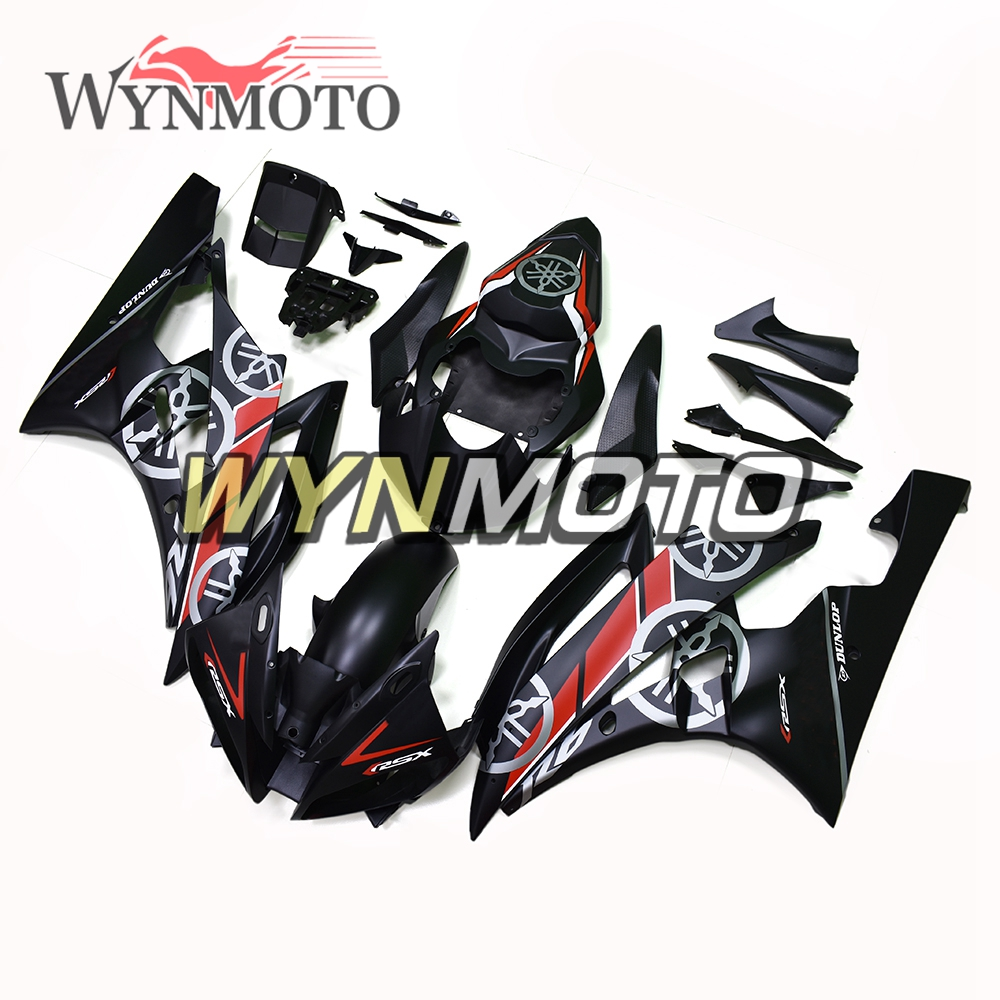 Matte Black Red ABS Injection Plastics Fairings For Yamaha YZF R6 Year 2006 2007 06 07 Motorcycle Complete Fairing Kit Bodywork injection molding bodywork fairings set for yamaha r6 2008 2014 blue black full fairing kit yzf r6 08 09 14 zb83