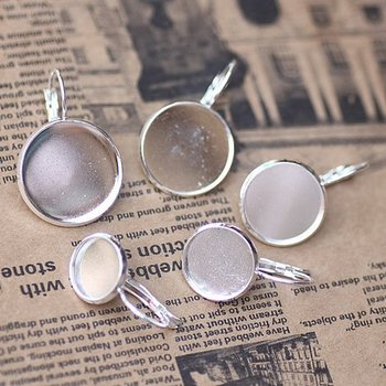 Free shipping!!! DIY jewelry-French Lever back earring base silver color 14mm pad earring findings EFH0004