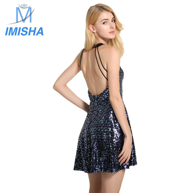 Imisha 2017 летние новые стили моды для женщин спинки лето сексуальная холтер шеи bling mini dress середины талии женщины платья woman039