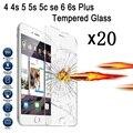 20 unids lot para iphone 4 4s 5 5s 6 6 s plus guardia templado Protector de Pantalla de cristal Ultra Thin HD 2.5D Borrar Front Película Sin Caja Al Por Menor